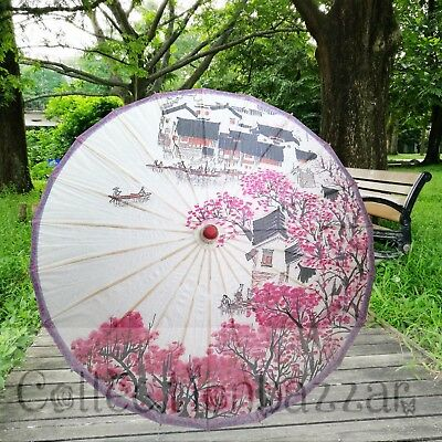 Chinese Parasol Paper Umbrella For Wedding Party Decoration / Art Display