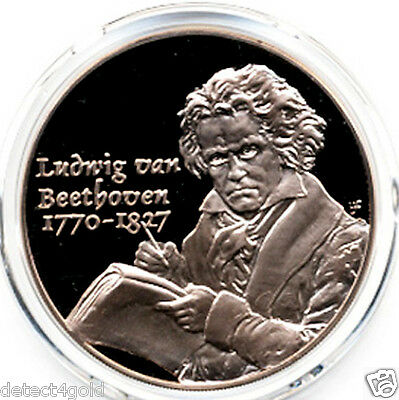 German Music Composer Ludwig Van Beethoven Piano on Beautiful Bronze Coin Medal
