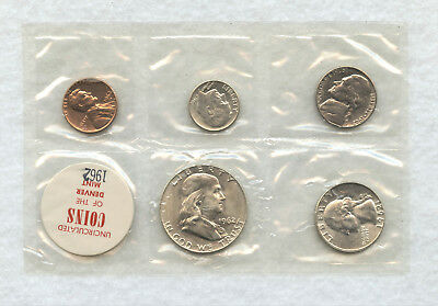 1962-D 5 Coin Uncirculated Mint Set Sealed In Cellophane Package