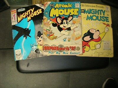 Lot of 3 Mighty Mouse & Atomic Mouse Comics 1957, 1961, 1990