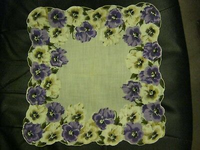 Gorgeous Purple Pansies Vintage Handkerchief. STuNNing! A Must SEE!