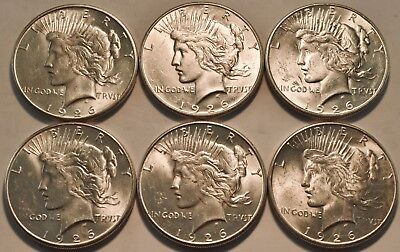 Lot of (6) Uncirculated 1926 S Peace Dollars, Better Date, High Grade Silver $1