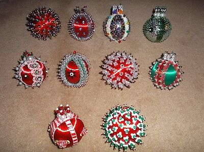 """Lot Of 10 Larger (About 10"""") Handmade Beaded/sequins Vintage Christmas Ornaments"""