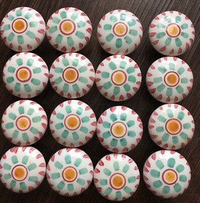 Wood Painted Shabby Chic Knobs Sun Flower Red White Cabinet Drawer Pulls x16