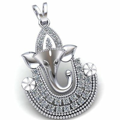 Natural 0.75ct Round Cut Diamond Ladies Lord Ganesha Religious Pendant 10K Gold