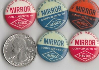 """Vintage Lot Of 5 """"world's Smallest Mirror Compliments Of Hantco"""" Celluloid Nice"""