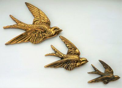 VINTAGE 1930s 40s SOLID BRASS WALL FLYING SWALLOW BIRD WALL PLAQUES RETRO CHIC