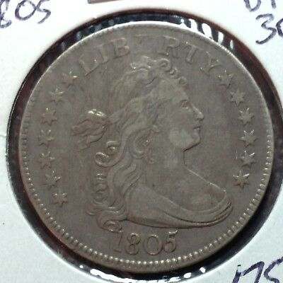 1805  VF-XF   Draped Bust Quarter  Rare Coin