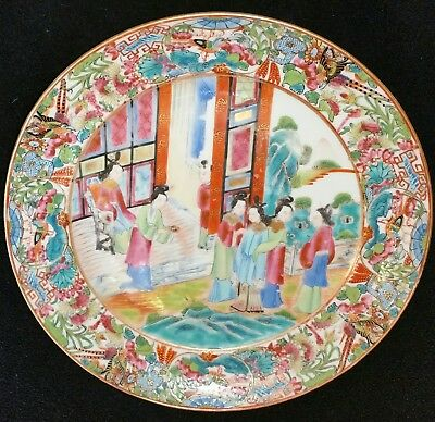 Early 19th Century Chinese Export Porcelain Rose Mandarin Decorated Dinner Plate