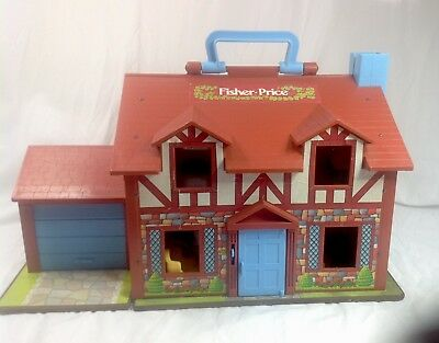 Vintage Fisher Price Tudor House Working Doorbell Door Furniture People Cars