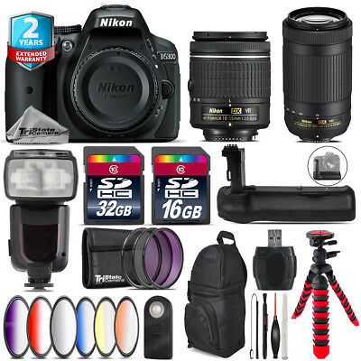 Nikon D5300 DSLR + AF-P 18-55mm VR + AFP 70-300mm VR + Remote - 48GB Bundle