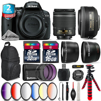 Nikon D5300 DSLR Camera + AF-P 18-55mm VR + 35mm f/1.8 + Backpack - 48GB Kit