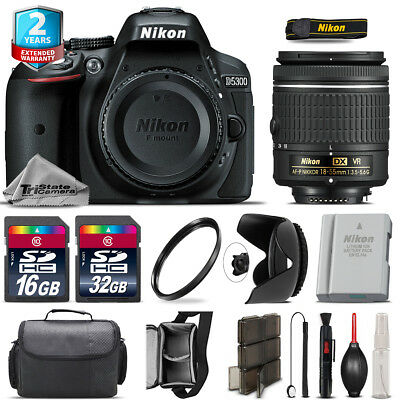 Nikon D5300 DSLR + AF-P 18-55mm VR Lens + Tulip Hood + Extra Battery - 48GB Kit
