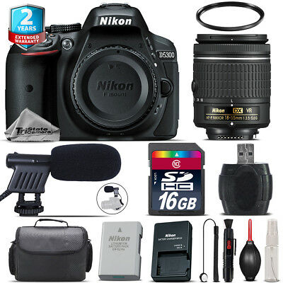 Nikon D5300 DSLR Camera + AF-P 18-55mm VR + Shoutgun Mic + UV + Case - 16GB Kit