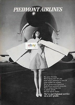 Piedmont Airlines 1971 F/a In Cape & 737 Jet Serving 78 Cities Ad