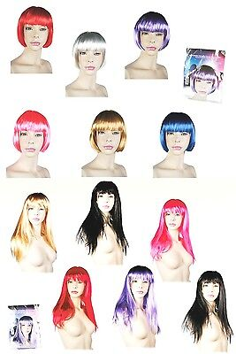 Ladies Straight Wigs Costume Party Hair Long Short Bob Blonde Brunette Colours