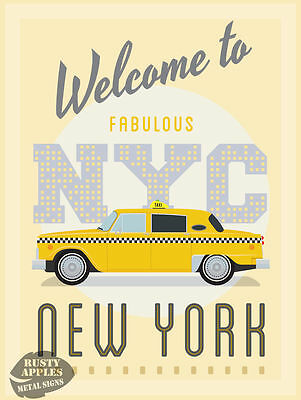 New York Taxi  Vintage Retro Garage:man-Cave:home Decor Great Gift  Metal Sign