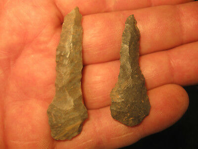 2 Nice Tennessee Prehistoric Drill Arrowheads, Ancient American Indian Artifacts