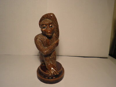 Rare Antique Pottery Hand Sculptured Figure Monkey On Plinth Treacle Glazed