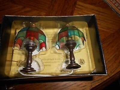 Nice pair of never used dollhouse stained glass lamps new in box concord lights