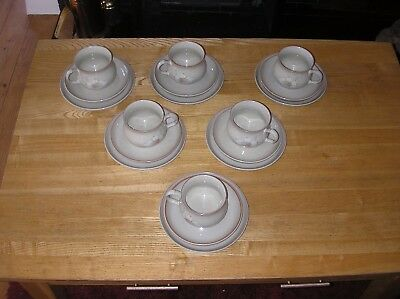 6 - Denby Daybreak Pattern Cups, Saucers And Tea Plates