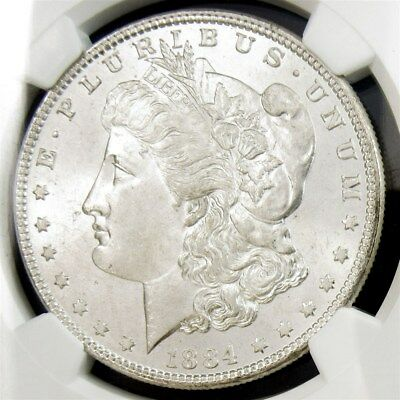 1884 Morgan Dollar - NGC MS65 - Certified Graded $1 Silver White and Frosty