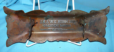 Vintage Adv. 14K Pen Holder Copper Tray, Kuhn Investment Bankers, Pittsburgh