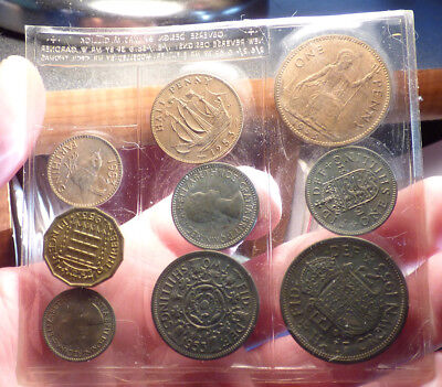 Great Britain 9 Coin Mint Set, 1953, 1 Year Type Coins - QEII Coronation Issue