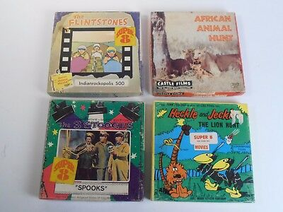 "Super 8Mm Film 5"" Reels *4 Movie Lot* 3 Stooges, Heckle Jeckle ++"