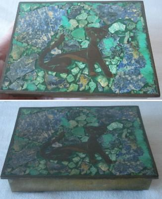 Vintage Mexican Brass Box Inlaid Sodalite Malachite ROSEWOOD LINED Wild Cat