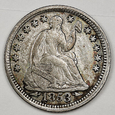 1853 Seated Liberty Half Dime.  A.U.  99523