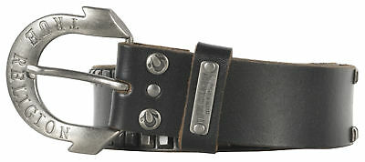 True Religion Stamped Metal Leather Belt Horseshoe Buckle Accessory Womens Black