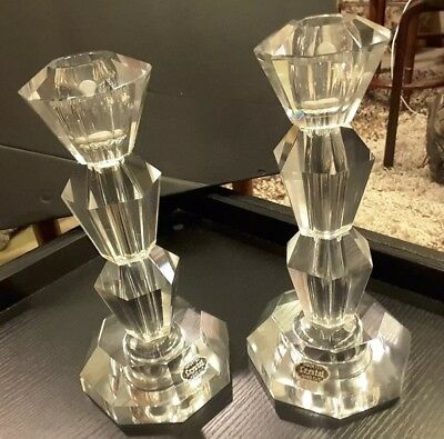 ANTIQUE HAND CUT IMPORTED Lead CRYSTAL Taper Candle HOLDERS ~ 2 Pc