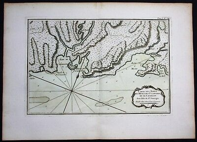 1764 - Haiti Baie du Mesle Flammants Hispaniola Bellin handcolored antique map