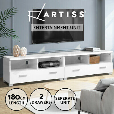 TV Stand Entertainment Side Cabinet Storage Unit Lowline Cupboard Shelf LCD LED