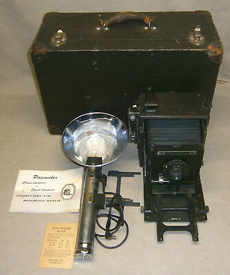 Vintage Graflex Speed Graphic 4X5 Camera F/4.7 127mm Kodak #2 Supermatic Lens