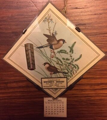 Vintage 1955 Wardensville Wv Glass Thermometer Calendar Plaque Whitmires Grocery