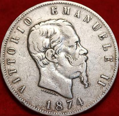 1874 Italy 5 Lire Silver Foreign Coin Free S/H