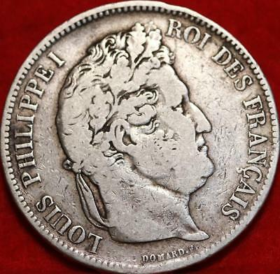 1833 France 5 Francs Silver Foreign Coin Free S/H