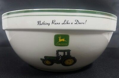 """John Deere 9"""" Mixing Bowl Gibson Green White Tractor Deer Discontinued"""