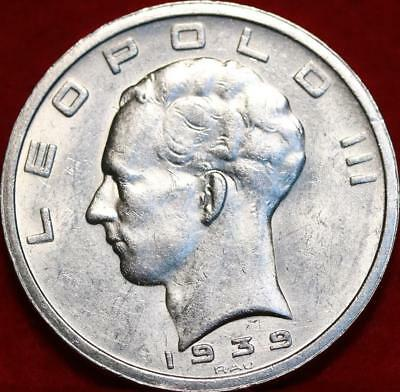 Uncirculated 1939 Belgium 50 Francs Silver Foreign Coin Free S/H
