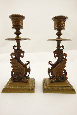 Pair of Antique Bronze Brass Asian Chinese Dragon Candlesticks Candle Holders