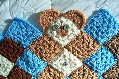 HANDMADE CROCHET BABY / BEAR BLANKET / AFGHAN / THROW unusual design