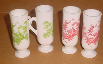 Lot of 4 VTG Avon Milk Glass Foot Demi Cup Mug Victorian Green Toile And Red