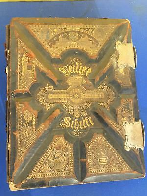 Antiques Antique 1825 German Family Bible Heavily Illustrated Previous Restoration Manuscripts