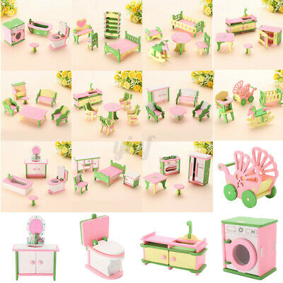 11 Set Wooden Furniture Dolls House Family Miniature For Kids Children Xmas Toys