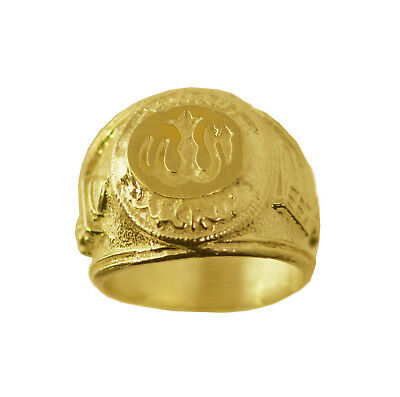 Allah Ring 24K Gold Plated OVER silver any Surah Prayer protection Jewelry Heavy