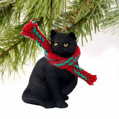Black Shorthair CAT Tiny One Miniature Christmas ORNAMENT