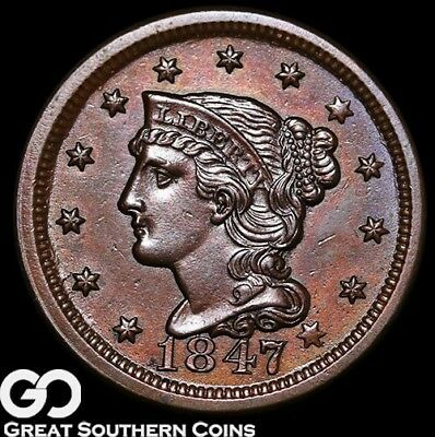 1847 Large Cent, Braided Hair, RARE This Nice, Gem BU++ Copper, * Free Shipping!