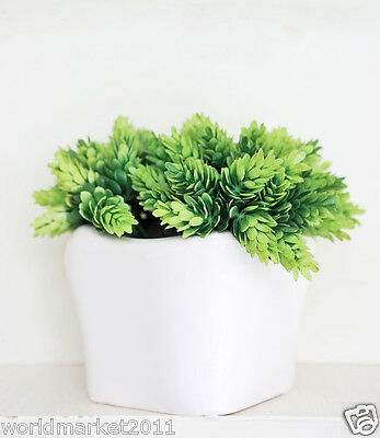 Simple Wavy Mouth White Vase +10 Bunches Pineapple Grass Set Floral Decoration
